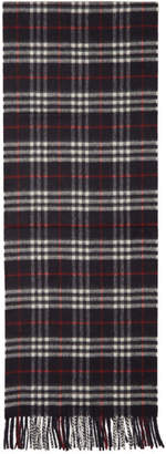 Burberry Navy Cashmere Vintage Icon Scarf
