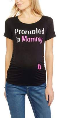 Planet Motherhood Maternity Promoted to Mommy Short Sleeve Graphic Tee With Flattering Side Ruching