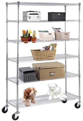 """Suncoo Wire Shelving Unit Storage Rack Metal Kitchen Shelf Stainless Steel Adjustable 6 Tier Shelves with Wheels Chrome 48"""" W x 82"""" H x 18"""" D"""