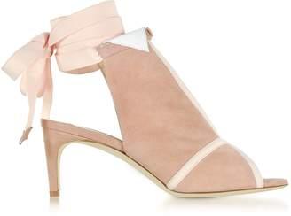 Olgana Paris La Jolie Pink Suede Mid-Heel Sandals