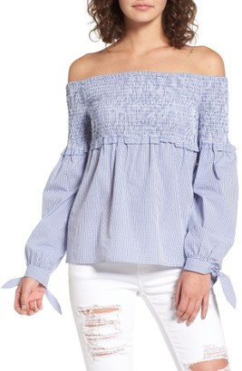 Women's Wayf Libby Smocked Off The Shoulder Top $69 thestylecure.com
