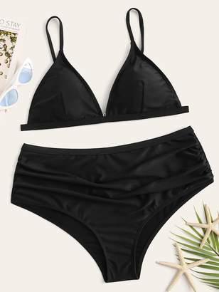 Shein Plus Triangle Top With High Waist Bikini Set