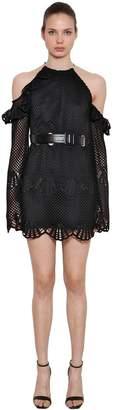 Self-Portrait Open Shoulder Crochet Mini Dress