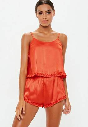 Missguided Orange Ruffle Satin Cami Pyjama Short Set