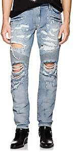 Balmain Men's Distressed Skinny Biker Jeans - Lt. Blue