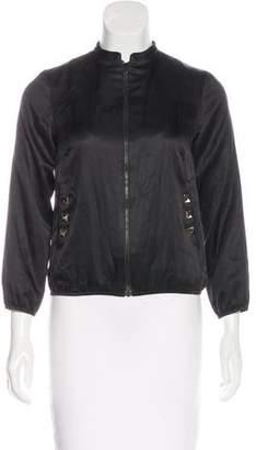 Loeffler Randall Cropped Silk-Blend Jacket