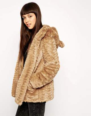 Asos DESIGN Faux Fur Hooded Coat With Animal Ears