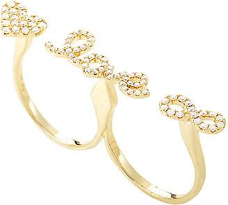 Diamond Select Cuts 18K 0.65 Ct. Tw. Diamond Love Doubel Finger Ring