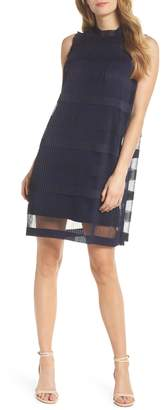 Julia Jordan Stripe Pleated Chiffon Shift Dress