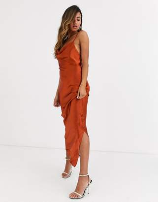 Asos Design DESIGN cami maxi slip dress in high shine in satin with lace up back