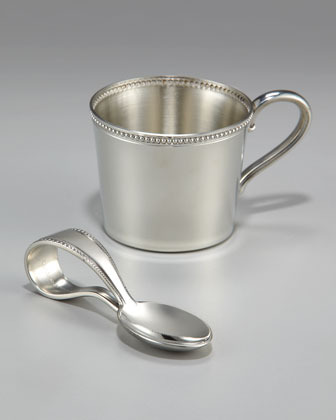 Reed & Barton Pewter Baby Beads Handle Spoon