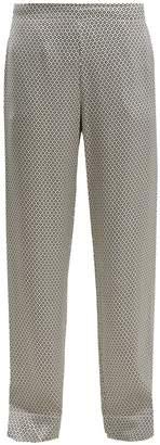 ASCENO Geometric-print silk pyjama trousers