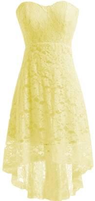 Miranda's Bridal Women's High Low Sweetheart Short Mini Lace Bridesmaid Dress US14