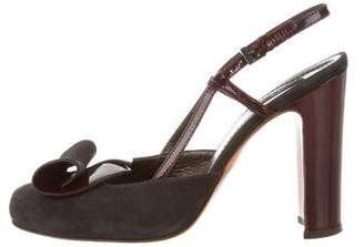 Etro Suede Round-Toe Pumps