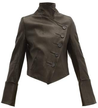 Ann Demeulemeester Sabine Double Breasted Leather Jacket - Womens - Black