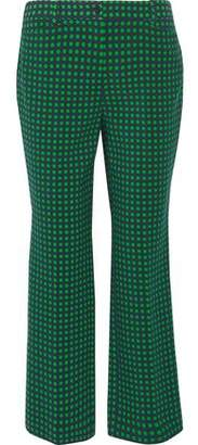 Michael Kors Polka-Dot Stretch-Wool Straight-Leg Pants