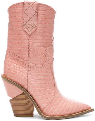 Fendi Croc Embossed Cutwalk Western Boots