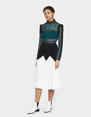 Self-Portrait Self Portrait Stripe Panelled Lace Midi Dress