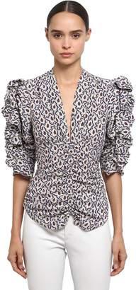 Isabel Marant Printed Silk V Neck Top