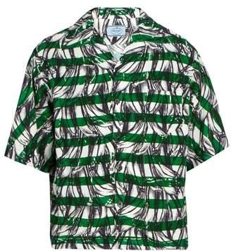 Prada Banana Print Striped Short Sleeved Shirt - Mens - Green Multi