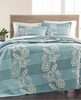 Martha Stewart Collection Closeout! Collection Gardenia Cotton Stripe Crewelwork King Quilt, Created for Macy's