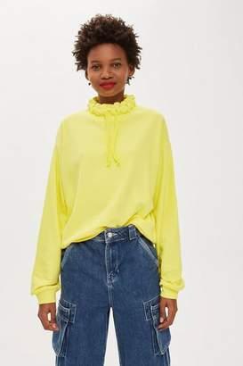 Topshop Cord Funnel Sweatshirt
