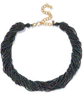 Kenneth Jay Lane Gold-Tone Iridescent Bead Necklace