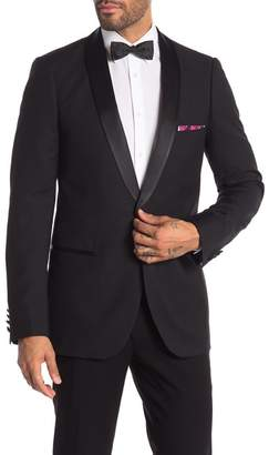Paisley & Gray Black Solid Slim Fit Shawl Lapel One Button Tuxedo Jacket
