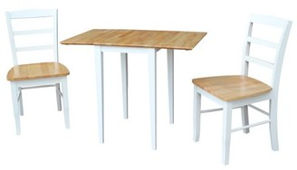 INC International Concepts Small Dual Drop Leaf Table and 2 Madrid Chairs in White/Natural - Set of 3