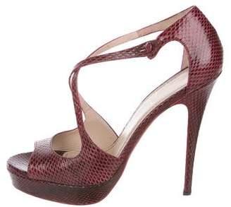 Saint Laurent Snakeskin Crossover Sandals
