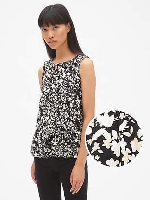 Gap Floral Print Sleeveless Shirred Ruffle-Hem Top