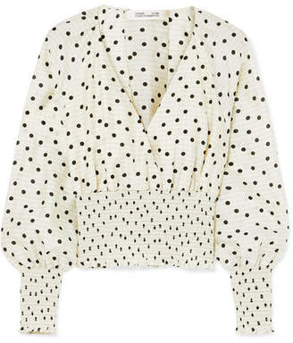 Diane von Furstenberg Shirred Polka-dot Silk Top - White