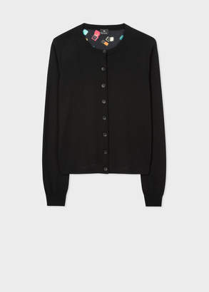 Paul Smith Women's Black Wool Cardigan With 'Ring Boxes' Print Back