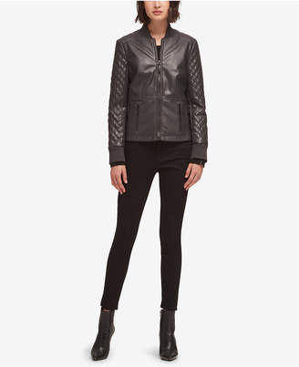 DKNY Faux-Leather Quilted Jacket, Created for Macy's