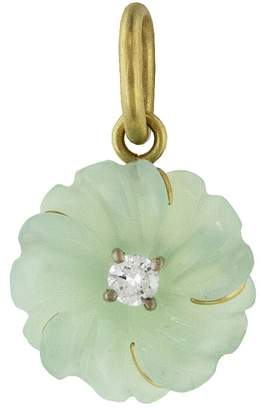 Irene Neuwirth Carved Green Opal Flower Charm - Yellow Gold