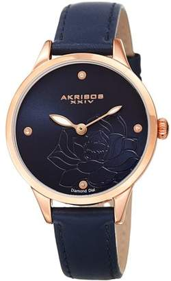 Akribos XXIV Gold Tone Casual Quartz Watch With Leather Strap [AK1047BK]