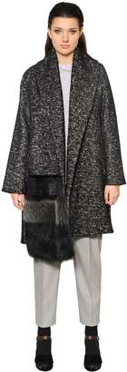Marina Rinaldi Wool & Cotton Coat W/ Fur Detail