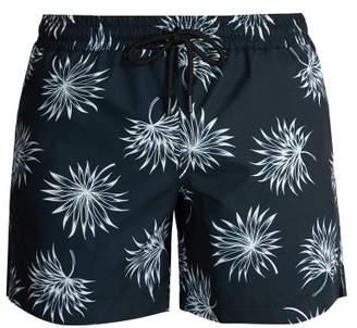 Commas - Fan Leaf Print Swim Shorts - Mens - Navy