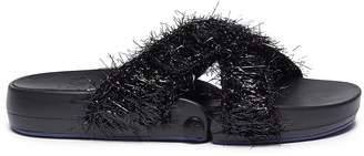 Figs By Figueroa 'Figomatic' cross strap tinsel slide sandals