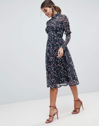 Asos Design Mesh Ditsy Print Midi Skater Dress with High Neck