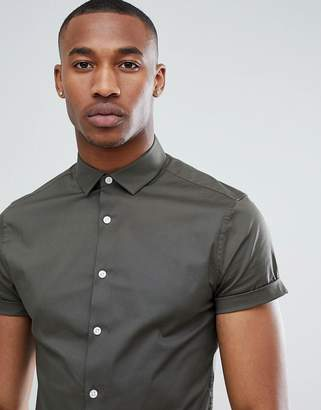 Asos DESIGN skinny shirt in khaki