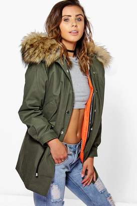 boohoo Petite 2 In 1 Zip Out Parka With Faux Fur Hood