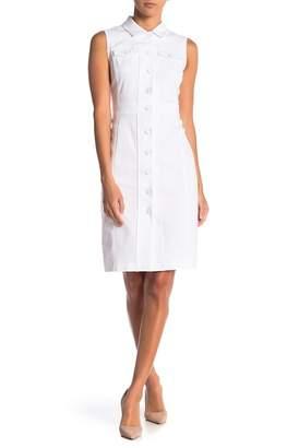 Modern American Designer Sleeveless Stretch Shirt Dress