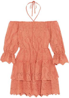 Alice + Olivia Alice Olivia - Waylon Broderie Anglaise Chiffon Mini Dress - Pink