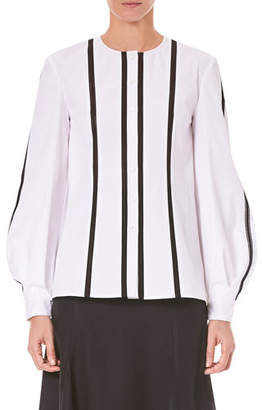 Carolina Herrera Vertical-Stripe Button-Front Cotton Shirt