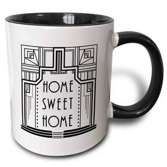 3dRose Black and White Art Deco Home Sweet Home Design - Two Tone Black Mug, 11-ounce
