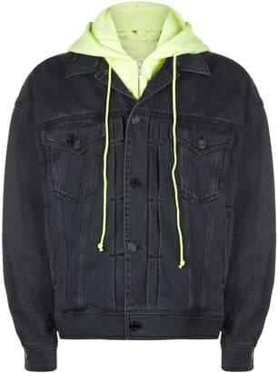 Juun.J Neon Hooded Denim Jacket