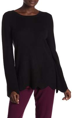Michael Stars Scalloped Hem Crew Neck Sweater