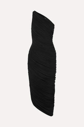 Norma Kamali Diana One-shoulder Ruched Stretch-jersey Dress - Black