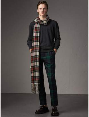 Burberry Check Detail Merino Wool Sweater
